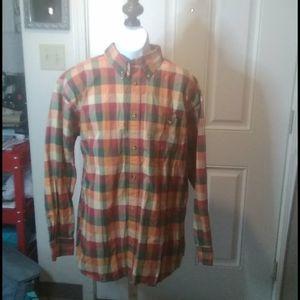 Orvis 100% Cotton Men's Long Sleeve Plaid Shirt XL